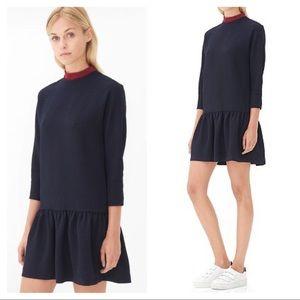 NEW Sandro Rosetta drop-waist crepe dress